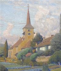 sommerlicher garten mit kirche by jean philippe edouard robert