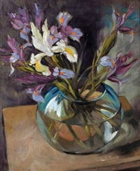 still life of irises in glass bowl (study) by wilfred e. littlewood