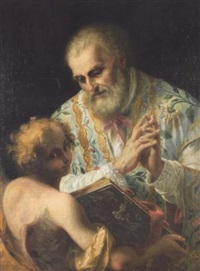 a bishop saint with an angel holding the bible by stefano maria legnani