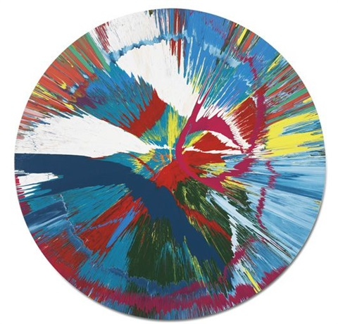 beautiful dirvish spin me round on the ground painting by damien hirst