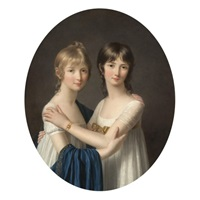 portrait of two sisters wearing white dresses by marie-victoire lemoine