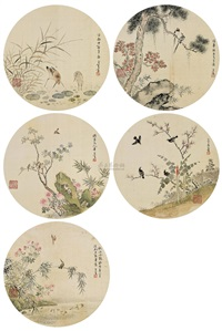 花鸟 (五帧) (flowers) (5 works) by liu luanxiang