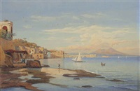 view of posilippo from the sea with mount vesuvius in the background by salomon corrodi