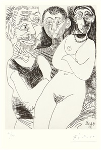 prostituée et marins (from the 347 series) by pablo picasso