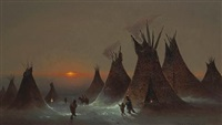 sioux camp in winter by jules tavernier
