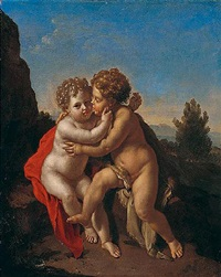 the infant christ and the infant saint john the baptist playing in a mountainous landscape by pieter van der werff