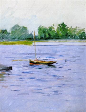 bateau au mouillage sur la seine by gustave caillebotte