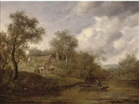 a fisherman in a rowing boat on a river, a cottage beyond by richard h. hilder