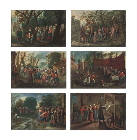 the procession of the bride the procession of the groom the wedding dance the wedding feast the wedding games and the blessing of the 6 works by pieter brueghel the younger
