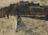 a waspit on the rokin in winter, amsterdam by george hendrik breitner