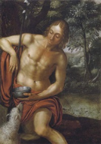 johannes der täufer in einer waldlandschaft by frans badens the elder