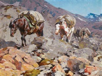pack horses on a trail by carl clemens moritz rungius