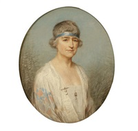 portrait of a lady wearing embroidered white silk jacket by p(ercy) harland fisher
