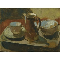 the brown coffee pot (+ still life with melon, verso) by robert macbryde