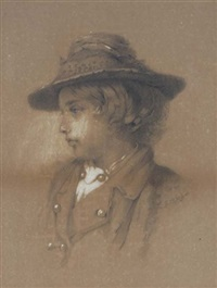 portrait of a boy wearing a hat by samuel f.b. morse