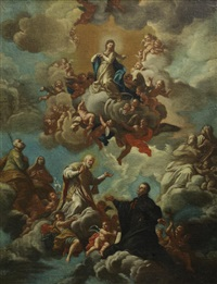 saint phillip neri and ignatius loyola before a vision of the immaculate conception by girolamo pesci