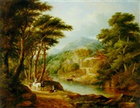 a mountainous river landscape with travellers on a path and a ferry boat beyond by charlotte nasmyth