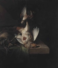 a partridge and other birds suspended over a draped stone ledge along with hunting paraphernalia and small birds by william gowe ferguson