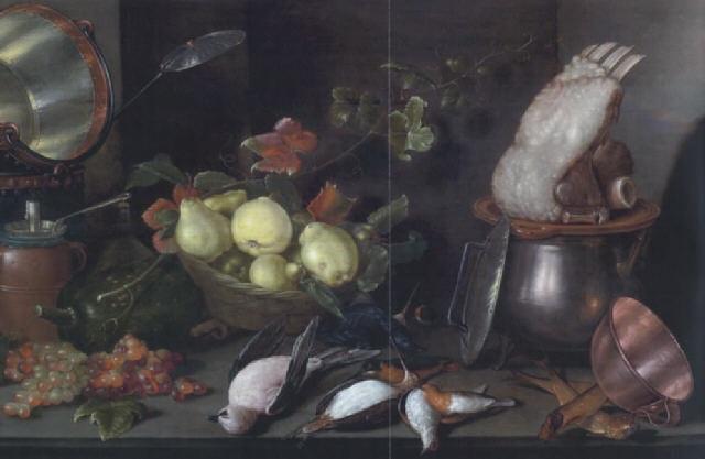 küchenstilleben mit früchten kupfer und tongeschirr sowie einem rippenstück by cornelis jacobsz delff