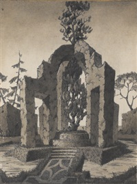 a topiary in the shape of an arched monument by emilio terry