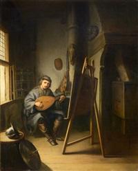 artista tocando la mandolina by gerrit dou