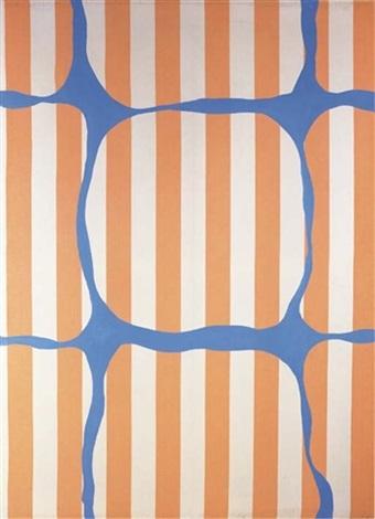 peinture aux formes variables bleues sur tissu rayé blanc et orange by daniel buren