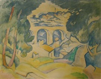 landscape with town by georges braque