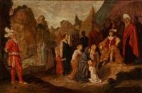 two religious scenes: one with women and children interceding with a commander, the other with a procession of people with bulls and garlands (2 works) by rombout van troyen