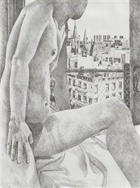 untitled - nude and cityscape by philip pearlstein
