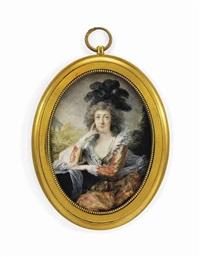 countess mária anna esterházy de galántha, née pálffy de erdöd (1747-1799), seated in a landscape, in red and gold shot-silk dress by friedrich heinrich füger