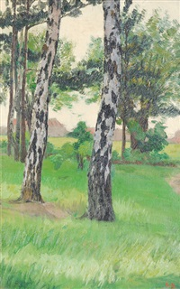 meadow with birches by august blunck
