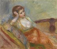 jeune fille assise sur un sofa by pierre-auguste renoir