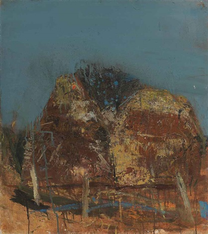 corn stacks recto figure on a bicycle verso by joan kathleen harding eardley