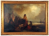 coastal scene with fisherfolk by edward robert smythe