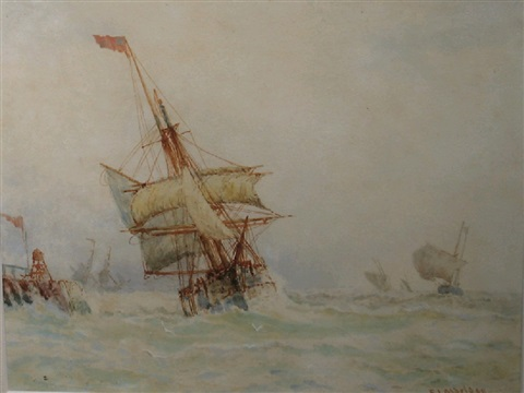 a study of a ship under sail in choppy waters by frederick james aldridge