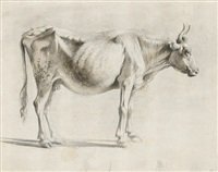 nach rechts stehende kuh. in hellbraun und by jean-jacques de boissieu