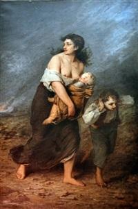 femme et enfants fuyant by gustave clarence rodolphe boulanger