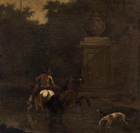 allenatore di levrieri a cavallo presso uno stagno con rovine classiche sullo sfondo by karel dujardin