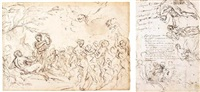 a bacchanal (+ sheet of figure studies, pen and brown ink and black chalk, verso) by anton domenico gabbiani