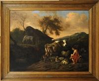 berger et troupeau dans la montagne by dirk van bergen