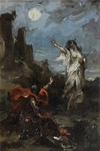 clorinde apparaissant au chevalier tancrède (chant xii 91) by henri léopold lévy