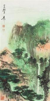 松山飞瀑 立轴 设色纸本 by xie zhiliu