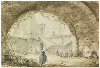 view of a courtyard through an archway by hubert robert