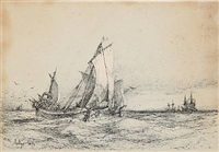 seascape with numerous sailing ships by daniel hermann anton melbye