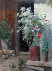 flower pots by a doorway by townley benson
