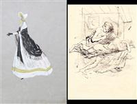 studio di figura femminile; studio di figure (2 works) by gianni vagnetti