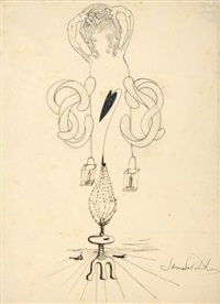 cadavre exquis (sketch) by salvador dali, valentine hugo, andre breton, and gala dali