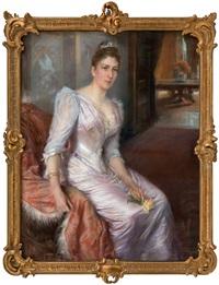 portrait of consul-general holmblads wife by albert edelfelt