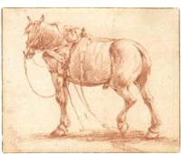 tacked up horses (2 works) by adriaen van de velde