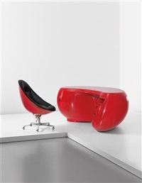 boomerang desk model no. 6462 and adjustable swivel chair (2 works) by maurice calka